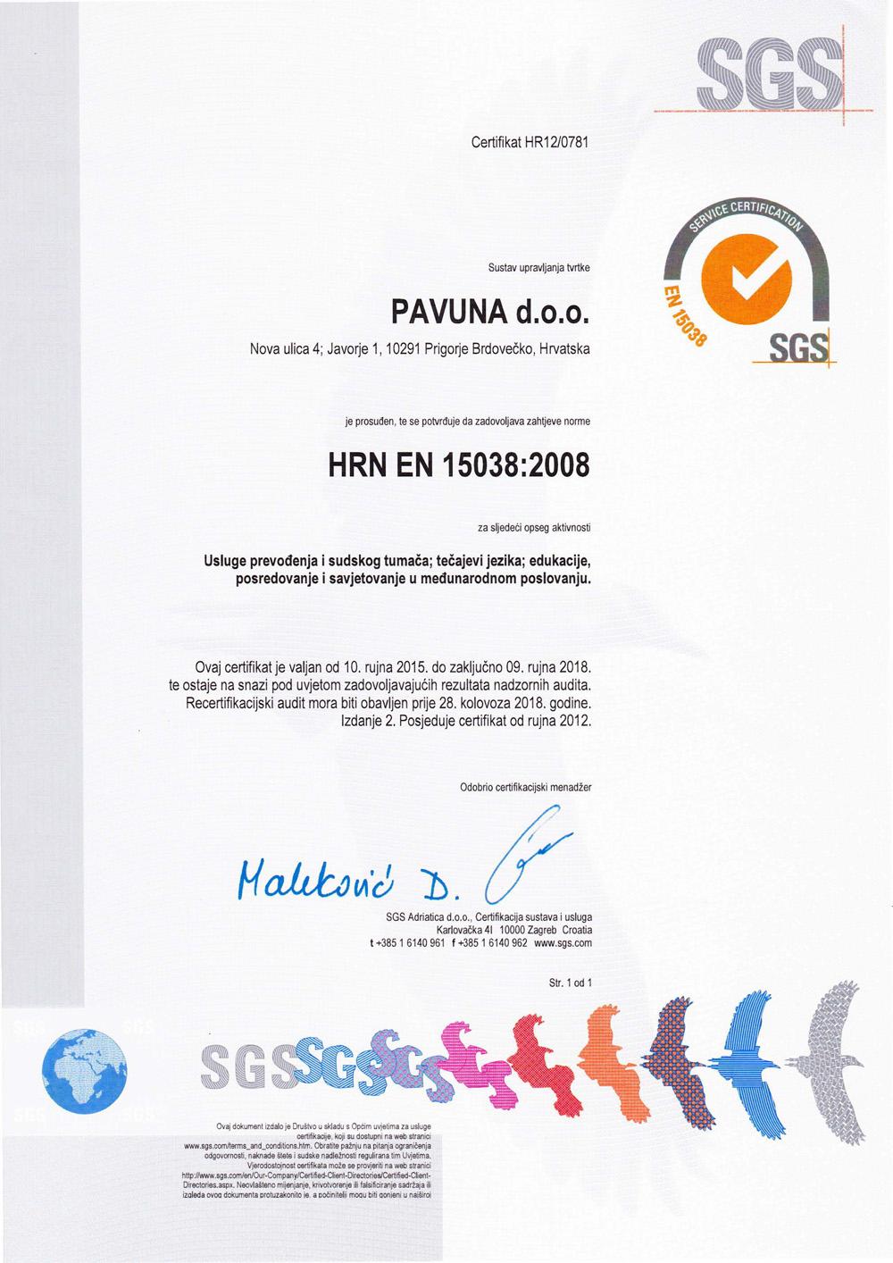 Prijevodi certifikat