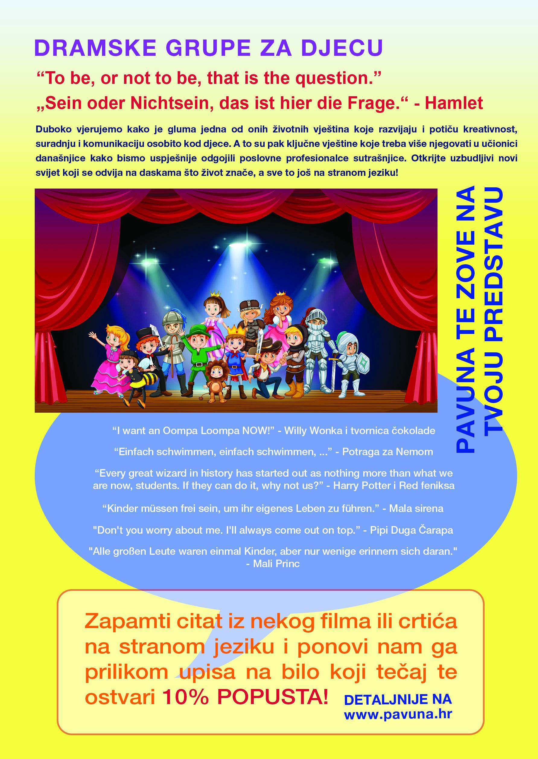 Tečajevi jezika za djecu - engleski - njemacki - dramske grupe
