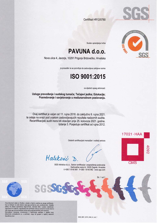 Tečajevi jezika - engleski - njemački - ubrzani - grupni - individualni - ISO-9001_2015